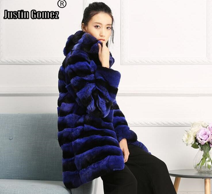 Estilo coreano y japonés lujoso Color azul increíble largo con capucha Rex chinchila abrigos de piel para mujeres de talla grande