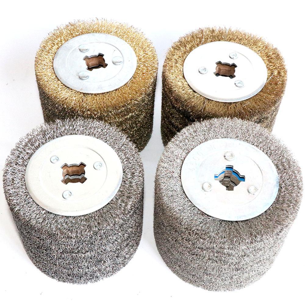 1 قطعة الفولاذ المقاوم للصدأ فرشاة سلك عجلة الخشب المفتوحة الطلاء تلميع Deburring عجلة لآلة شريطية الكهربائية