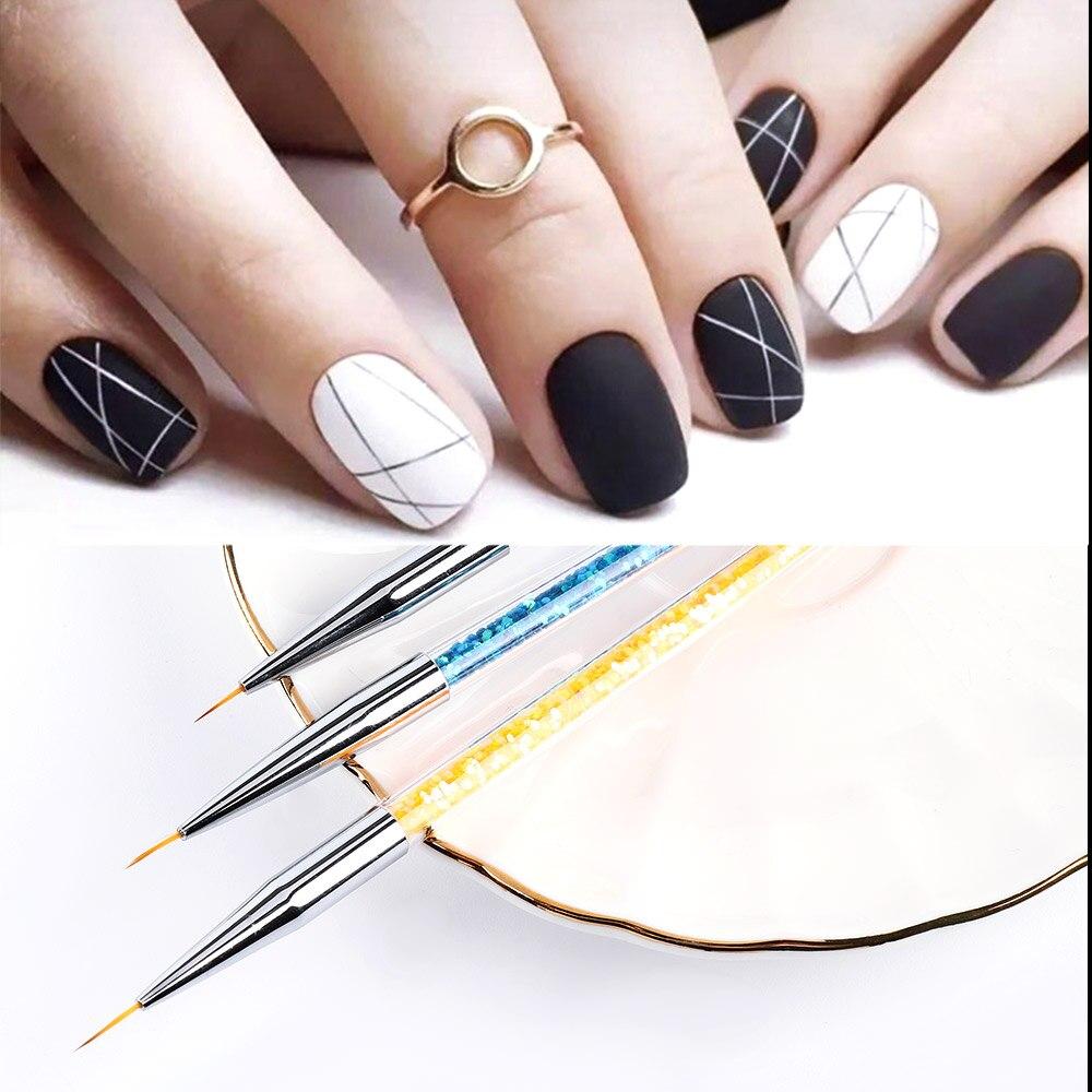 3pcs/set Fine Paint Brush Set Liner Pens Metal Handle Polish Painting Drawing Nail Art Brushes Thin Manicure Tools Pen Brush
