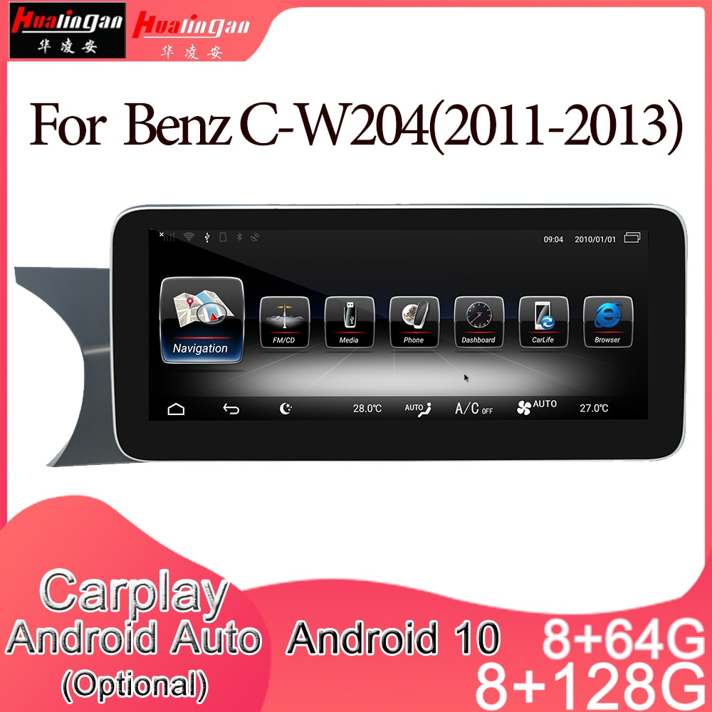 Android 10 Car Multimedia DVD Stereo Radio Player GPS Navigation Carplay Auto for Mercedes Benz C-W2
