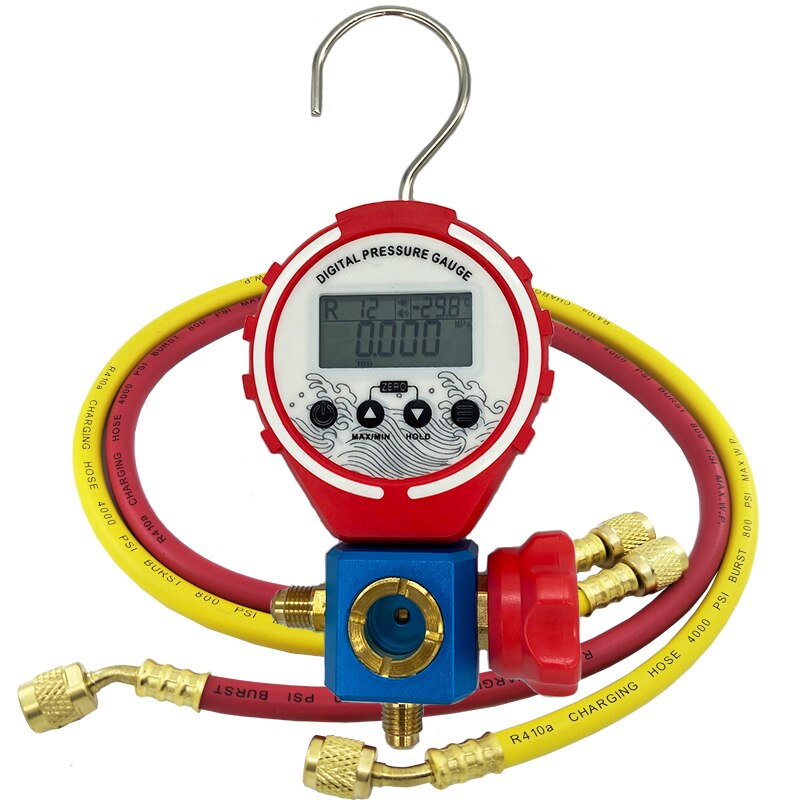 قياس الضغط التبريد الرقمية المنوع اختبار فراغ ضغط متر HVAC درجة الحرارة اختبار ضغط الفريون مع خرطوم