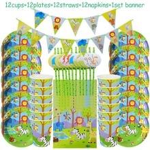 Ensemble de vaisselle jetable pour thème animaux   49 pièces, décor de fête danniversaire Jungle, fête Safari dans la Jungle pour enfants, fournitures de fête prénatale