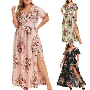 Dress Summer платье Women Plus Size Fashion Loose V Neck Floral Print Short Sleeve Boho Split Long Dress Party Beach Maxi Dress