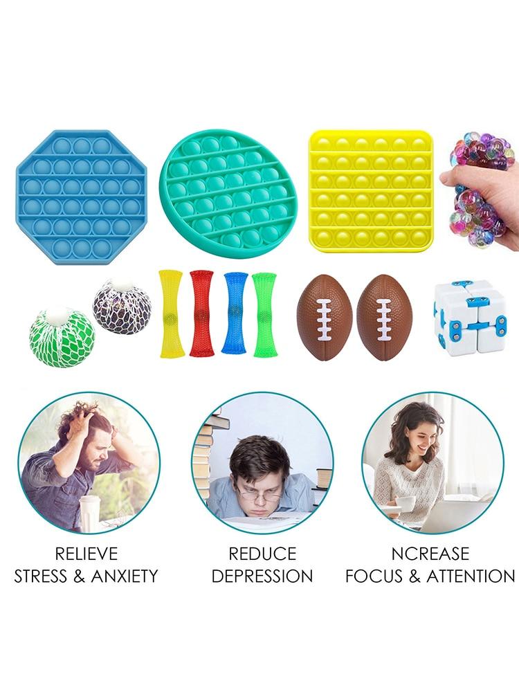 Push Pops Bubble Sensory Fidget Toys Set Stress Relief Toys For Adults Kids Fidget Squeeze Toy For Autism Squisy Stress Reliever enlarge