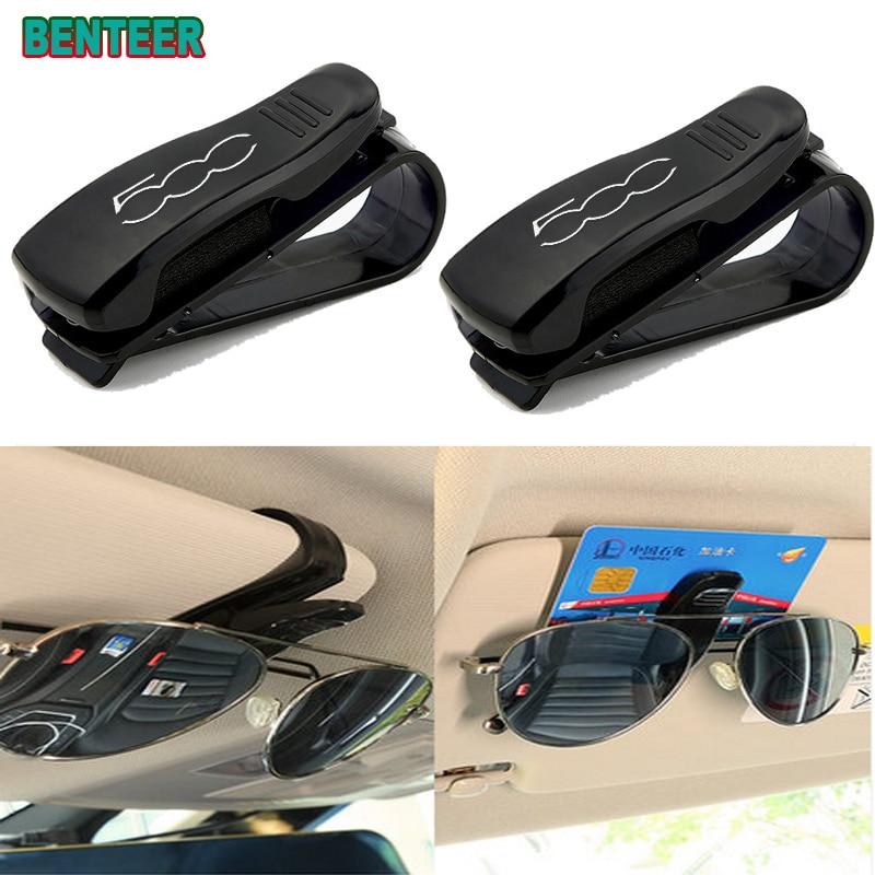 ABS Portable Car Glasses Cases Ticket Card Clamp Car Sun Visor Sunglasses Holder for Fiat 500 ABARTH