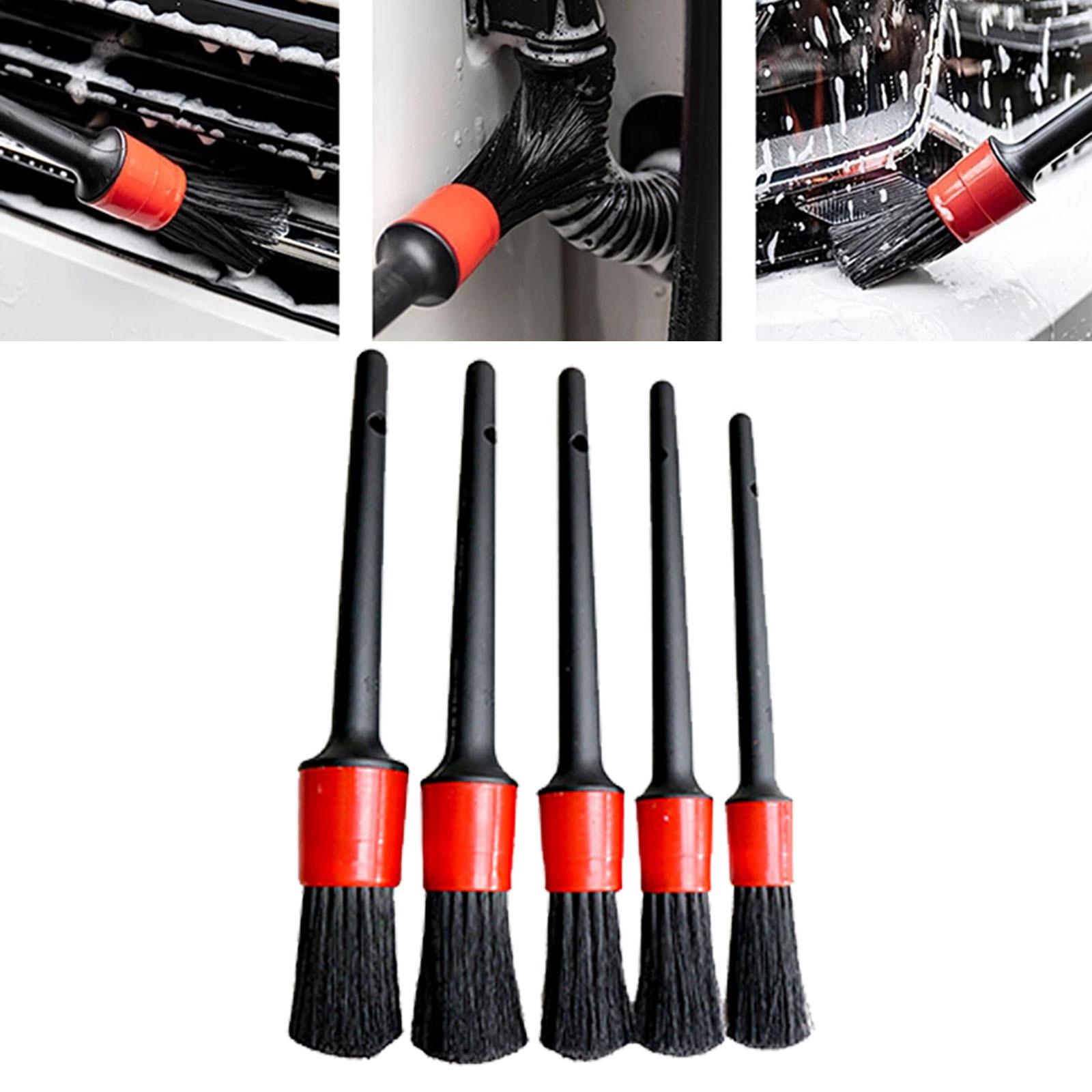 5pcs Detailing Brush Car Cleaning Detailing Brush Set Automotive Detailing Brush For Car Cleaning Auto Detail Brush Wash Tools