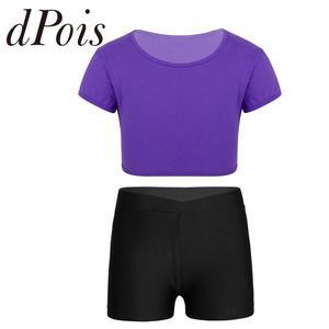 Kids Girls Basics Short Sleeves T Shirt Crop Top V-front Shorts Dance Gymnastics Workout Fitness Set Children's Swimming Suit