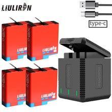 Wysokiej jakości w pełni dekodowania Go pro Hero 8 baterii + 3 Port TYPE-C ładowarka do GoPro Go pro Hero 5 6 7 8 czarny aparat akcesoria