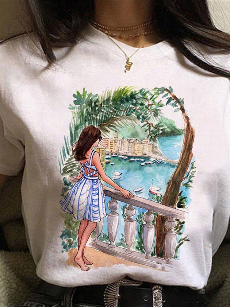 A Cool Streetwear Female White T-shirt Fashion Short Sleeve Print Women Summer Cotton T Shirt Femme Tops i believe in jesus t shirt cool creative pop geek double sided print t shirt design fashion brand women men cotton white top tee