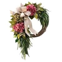 artificial wreath fall hydrangea bowknot decoration flower wreath front door home decor