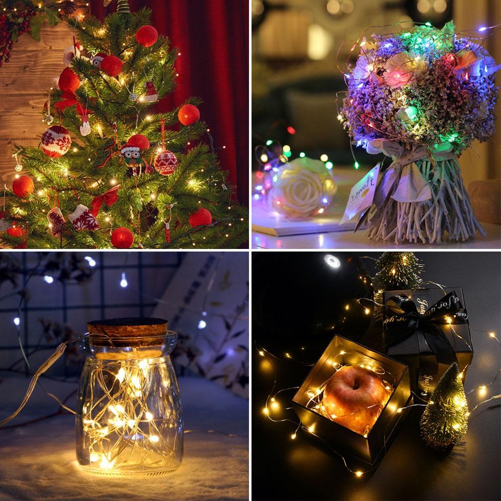 2m 5m 10m LED-uri cu șiruri de sârmă de argint ghirlande de - Luminări festive - Fotografie 2