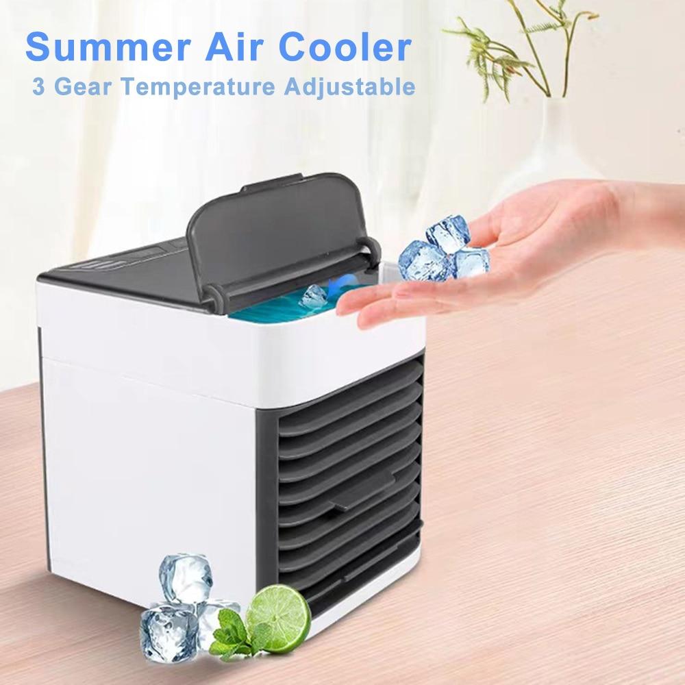Портативный вентилятор для охлаждения воздуха, мини кондиционер для дома, Многофункциональный 3 в 1, увлажнитель очиститель, маленький USB вентилятор для путешествий        АлиЭкспресс