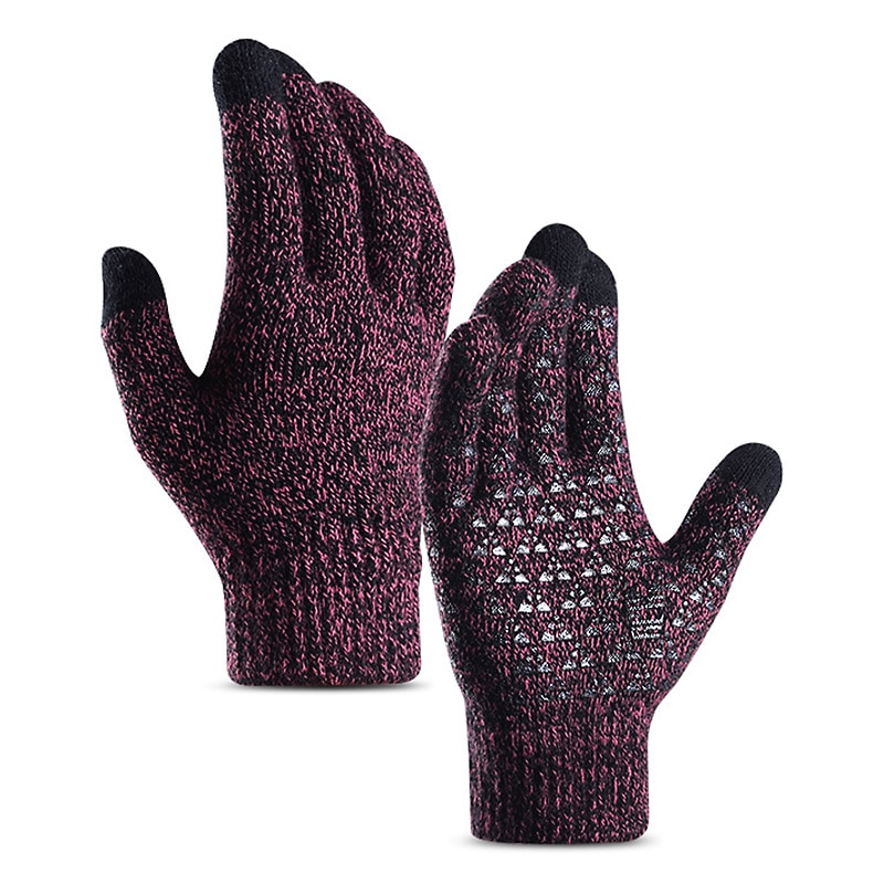 Winter Knit Gloves Touchscreen Warm Thermal Soft Elastic Anti-Slip Women Men Cycling Running