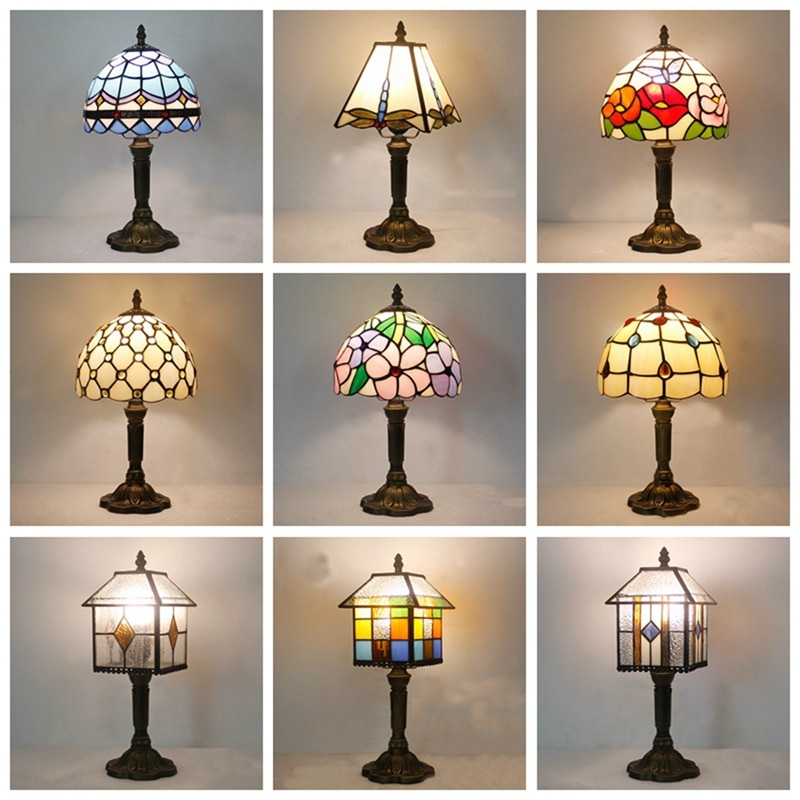تيفاني الإبداعية الأوروبية البحر الأبيض المتوسط غرفة نوم السرير إضاءة للتزيين مصابيح لون دافئ الأمريكية الرجعية مصباح طاولة الحنين