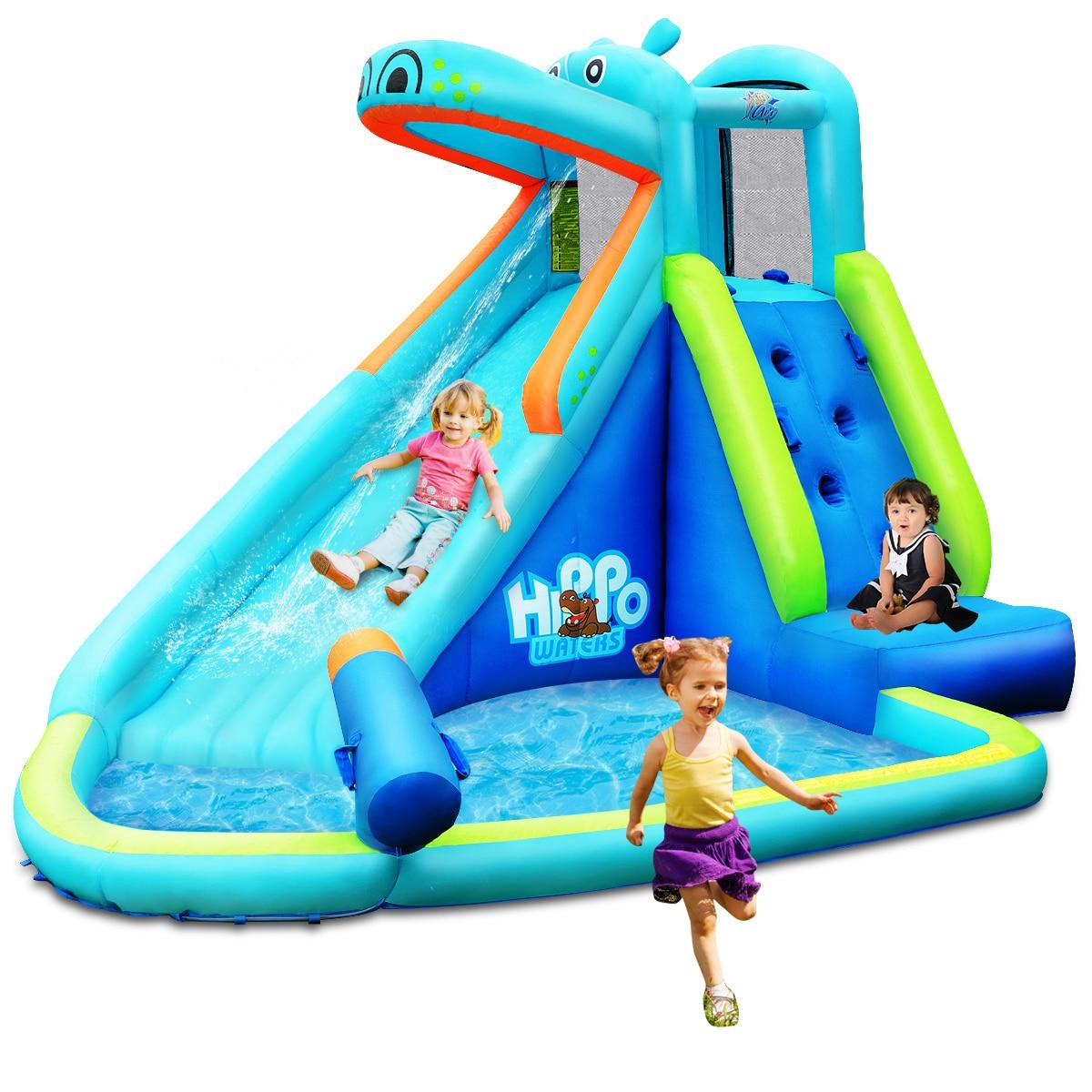 Inflable para niños, hipopótamo, casa de rebote, Tobogán, pared de escalada, piscina contra salpicaduras con bolsa