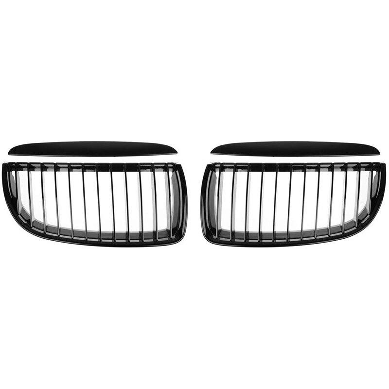 Front Hood Kidney Grille for BMW E90 323I 325Xi 330I 328I 328Xi 335I 335Xi Pre-Facelift (Single Line, Glossy Black)