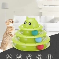 cat toy tower track pet toys three levels funny playing kitten training amusement ball interactive toys puppy products
