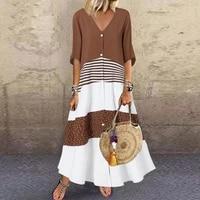 summer women plus size dress solid sundress elegant loose plain cotton linen half sleeve maxi dress casual robe femme vestidos