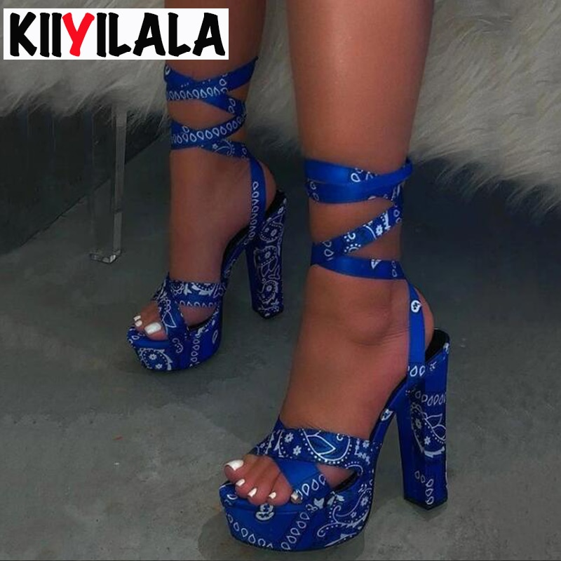 Kiiyilala sandalias de plataforma Super tacones altos aumento de altura sandalias con estampado de camuflaje tobillo-envuelto suela gruesa zapatos de plataforma Mujer