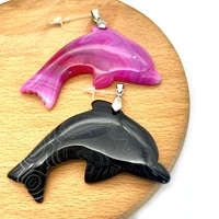 1pc natural semi precious stone dolphin shape pendants black yellow 6 colors diy for making necklace accessions 40x58mm size