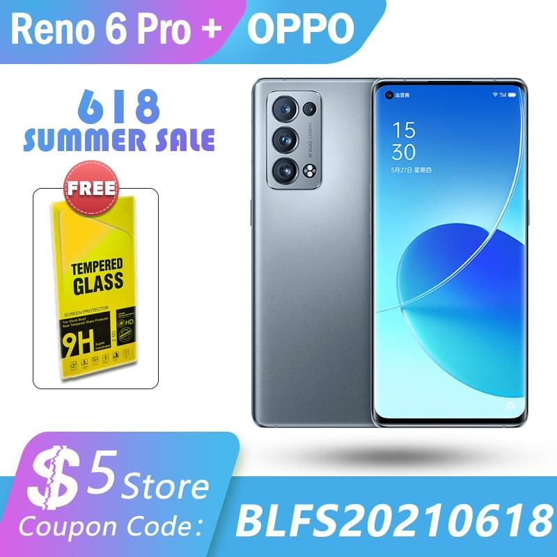 Перейти на Алиэкспресс и купить Новый оригинальный OPPO Рено 6 Pro + плюс 5G Смартфон Snapdragon 870 50MP Камера 65 Вт SuperVOOC активно-матричные осид, 90 Гц Экран Android сотовый телефон