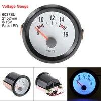 6037bl 2 52mm 12v blue led voltage meter gauge boost gauge tachometeroil temp meteroil pressure gauge with sensor for cars