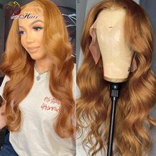 Honey Blonde Lace Front Human Hair Wig Transparent Ginger Brown Body Wave Lace Front Wigs For Women
