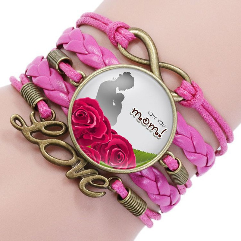 Купить с кэшбэком BEST MOM EVER bracelets For Women Letter Glass Cabochon Charm Braided Leather Rope Chains Bangle Fashion Mother Jewelry Gift