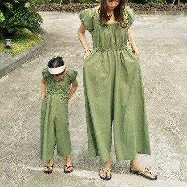 2020 קיץ קוריאני בגדי ילדים חדש בנות אופנה קרוע פאף שרוול רחב רגל סרבל ההורה לילד