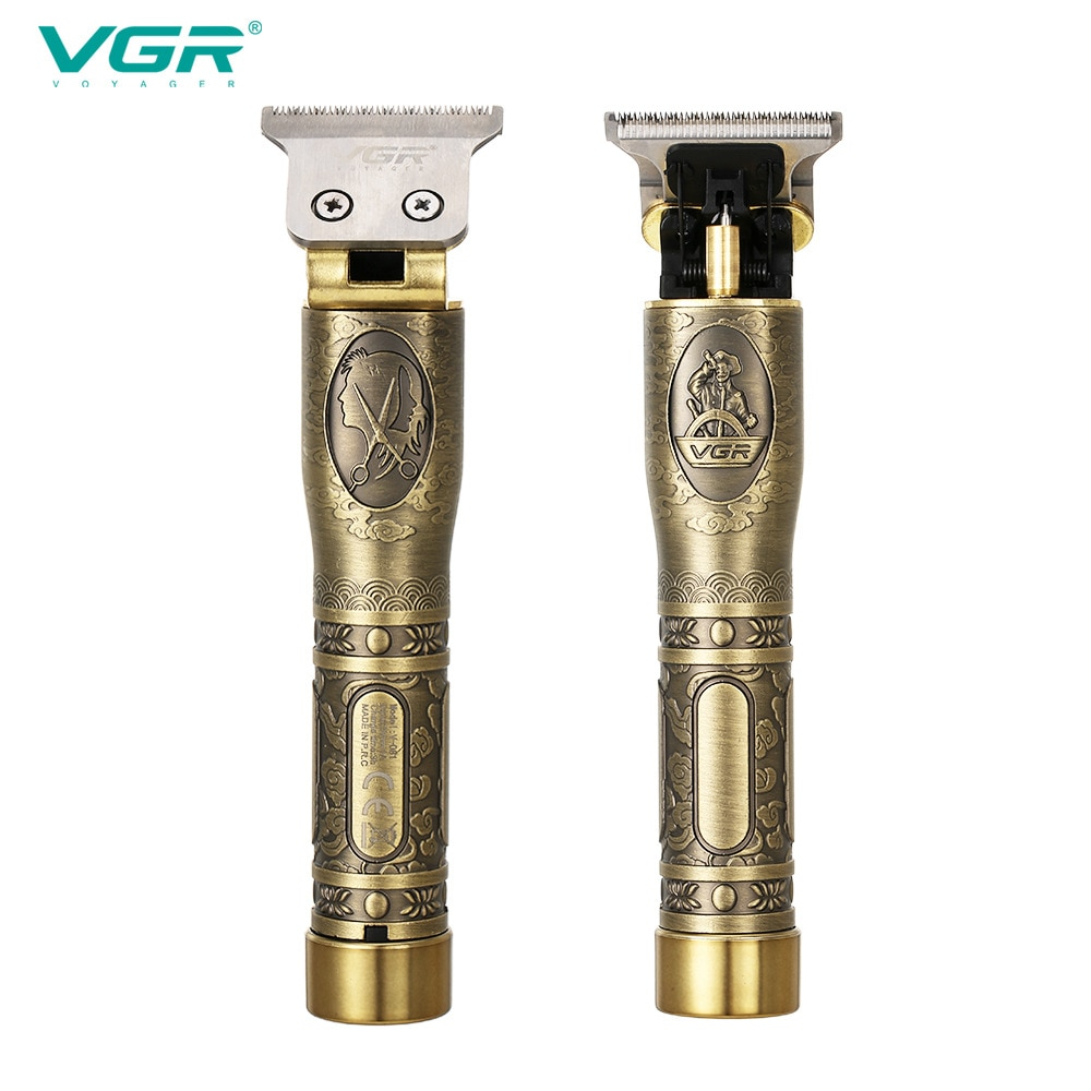 VGR 081 مقص الشعر المهنية قابلة للشحن العناية الشخصية خمر النقش مقص T9 الانتهازي USB الحد الحلاق V081