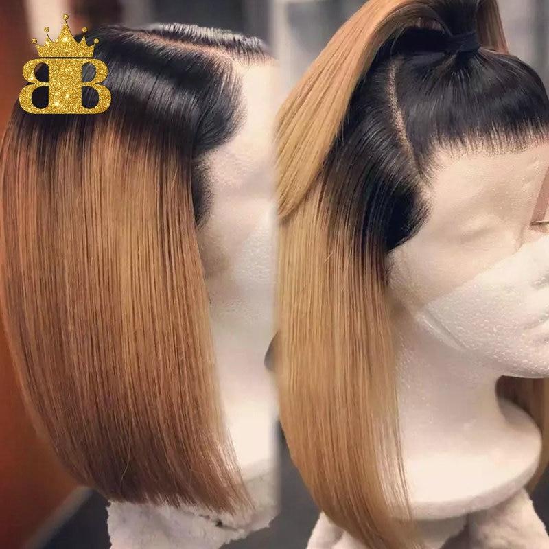 Pelucas de cabello humano 180% rubio miel 13x4 Ombre frente de encaje T1B/27 Peluca de pelo brasileño Remy Bob corto de raíz negra blanqueada nudos babero