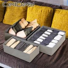 Caja de almacenamiento plegable para el hogar, organizador de ropa interior y sujetador de varios tamaños, cajón de armario no tejido para bufandas y calcetines, 3 unidades
