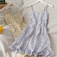 summer small floral print ruffled sling dress womens 2021 new high waist slim low neck thin casual open back sling dress