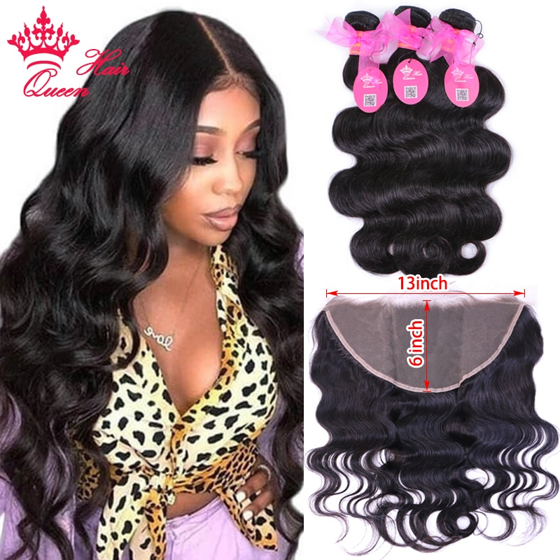 13x6 Frontal With Bundles 100% Human Hair Brazilian Hair Weave Body Wave Bundles With Pre Plucked Lace Frontal Queen Hair