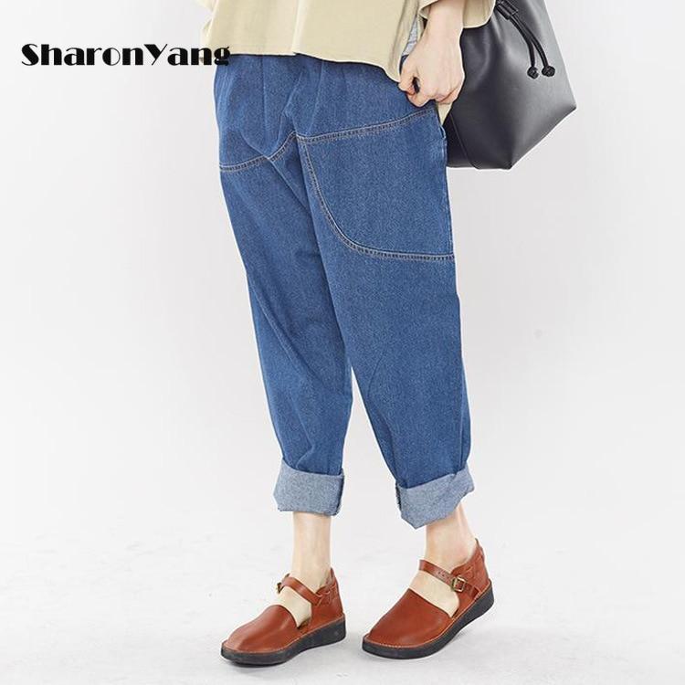 Размера плюс, женские штаны с эластичной резинкой на талии, детские джинсы свободные джинсы в винтажном стиле джинсы-бойфренды для женщин п...