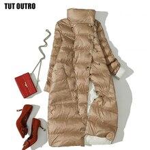 Women Double Sided Down Long Jacket Winter Turtleneck White Duck Down Coat Double Breasted Warm Parkas Snow Outwear