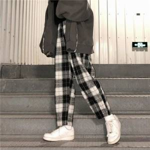 dropshipping Harajuku Plaid Pants For Women Trousers 2021 Streetwear Woman Harem Pants Autumn Ladies Causal Pants Plus Size