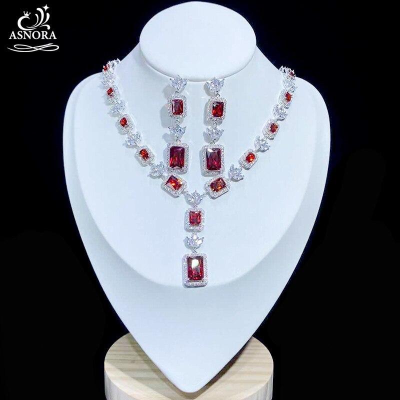 ASNORA, alta calidad, Zirconia cúbica roja, collar y pendientes, accesorios para vestido, conjunto de joyería nupcial de cristal de lujo, X0831