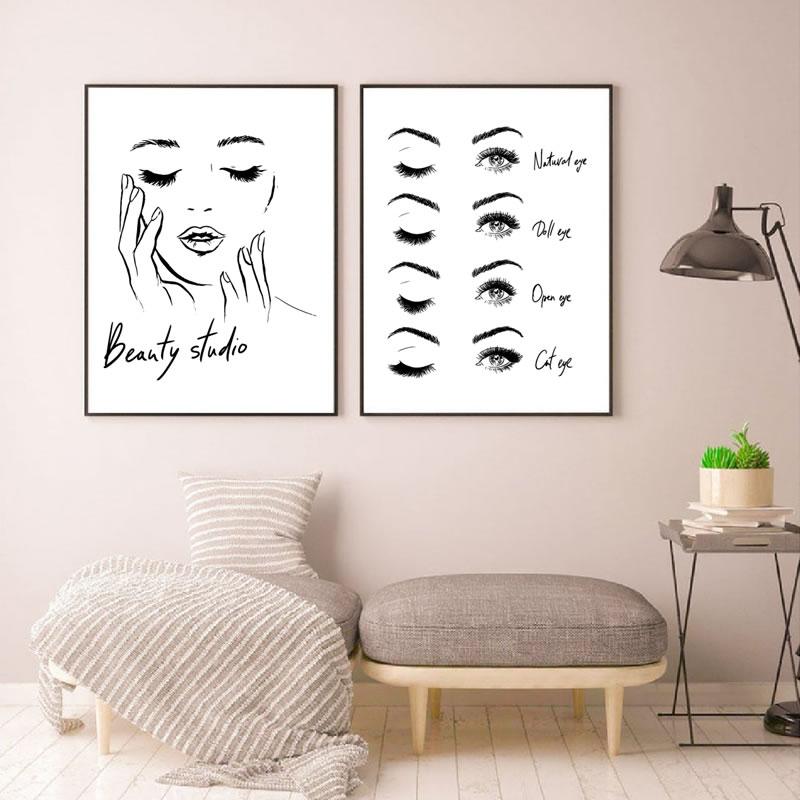 Frau Gesicht Poster Schöne Wimpern Machen Up Drucke Schönheit Studio Wand Kunst Dekor Leinwand Malerei Bild Make-Up Wand Dekoration
