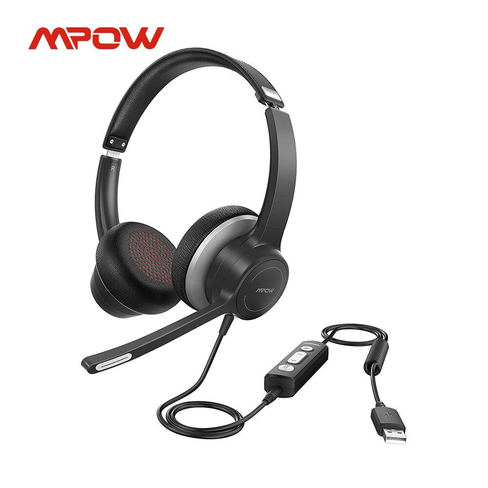 Проводная USB-гарнитура Mpow HC6 Pro, наушники-вкладыши для компьютера с двойным микрофоном, бесшумная Компьютерная гарнитура для Skype, Webinar, ПК