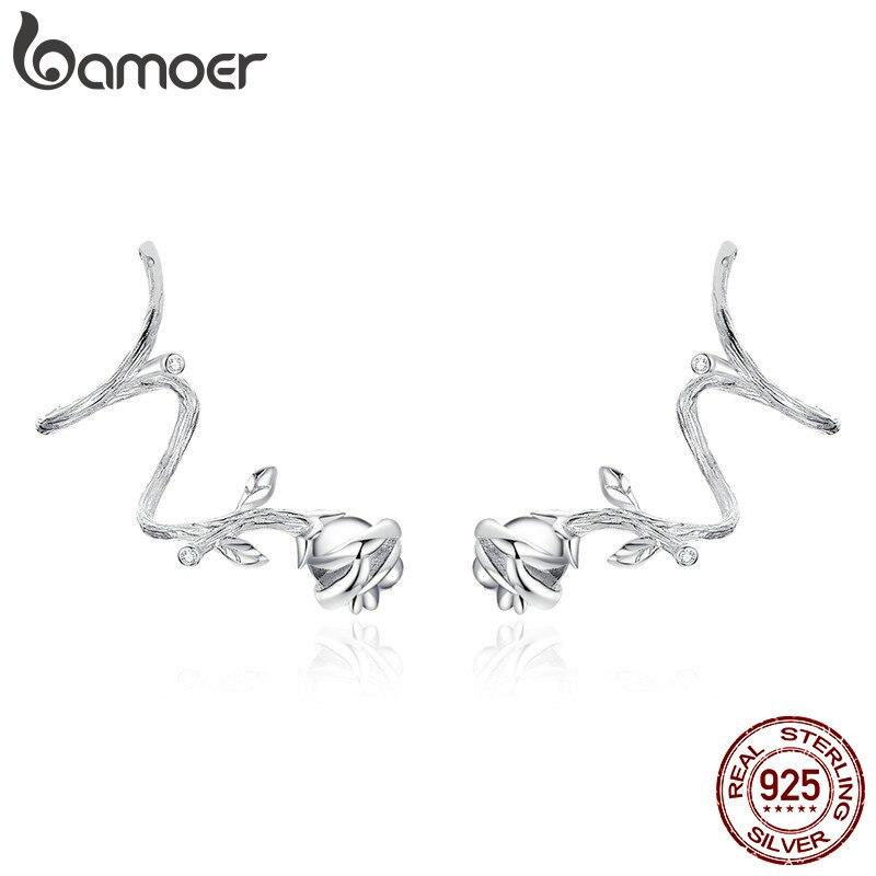 Clips de oreja de flor Rosa bamoer Thorns para mujer auténtica Plata de Ley 925 Vintage Punk joyería accesorios para mujer BSE238