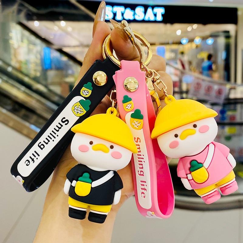 MMK New Cartoon Duck Keychain Cute PVC Duckling Pendant Creative Gift Car Keyring Bag Ornaments Jewe