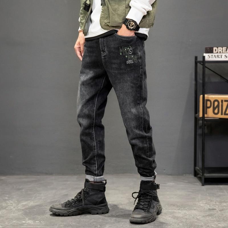 Новые модные мужские джинсы в Корейском стиле ретро Черные Серые Эластичные зауженные рваные джинсы мужские дизайнерские повседневные джи...