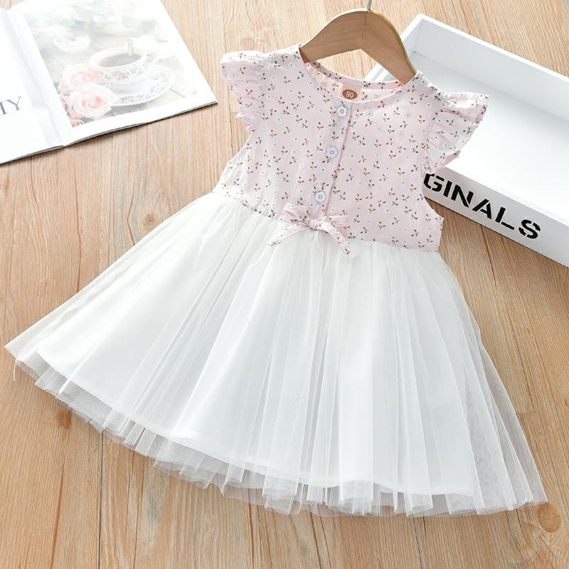 Sweet Floral Mesh Yarn Stitching Princess Dress Flower Newborn Baby Dress Summer Cute Baby Girls Clothes Infant Clothing Dress