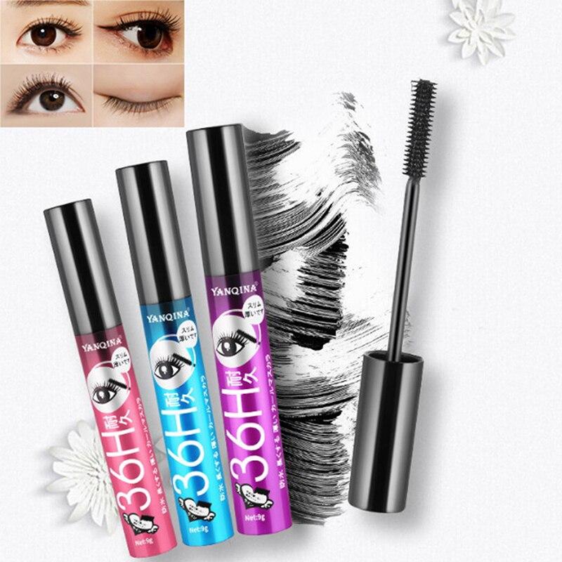 3D Makeup Eyelash Extension Black Thick Lengthening Cosmetic Eye Lashes 36H Black Waterproof Mascara Silk Fiber Lash