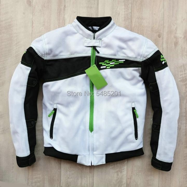 Chaqueta transpirable de malla para motociclismo de verano para hombre, color negro, verde y blanco, para Kawa saki Knight, ropa de carreras, chaqueta para montar