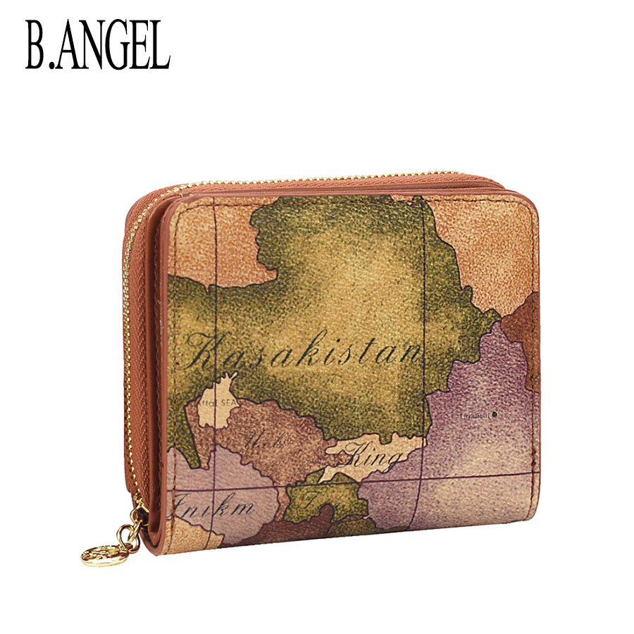 Mini Vintage Short Wallet for Women Coin Purse Card Holder Fashion World Map Waterproof Leather Shor