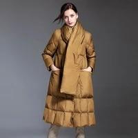 2021 tie scarf thick down jacket women warm european plaid fashion solid puffer coat winter white duck down coat female qq12