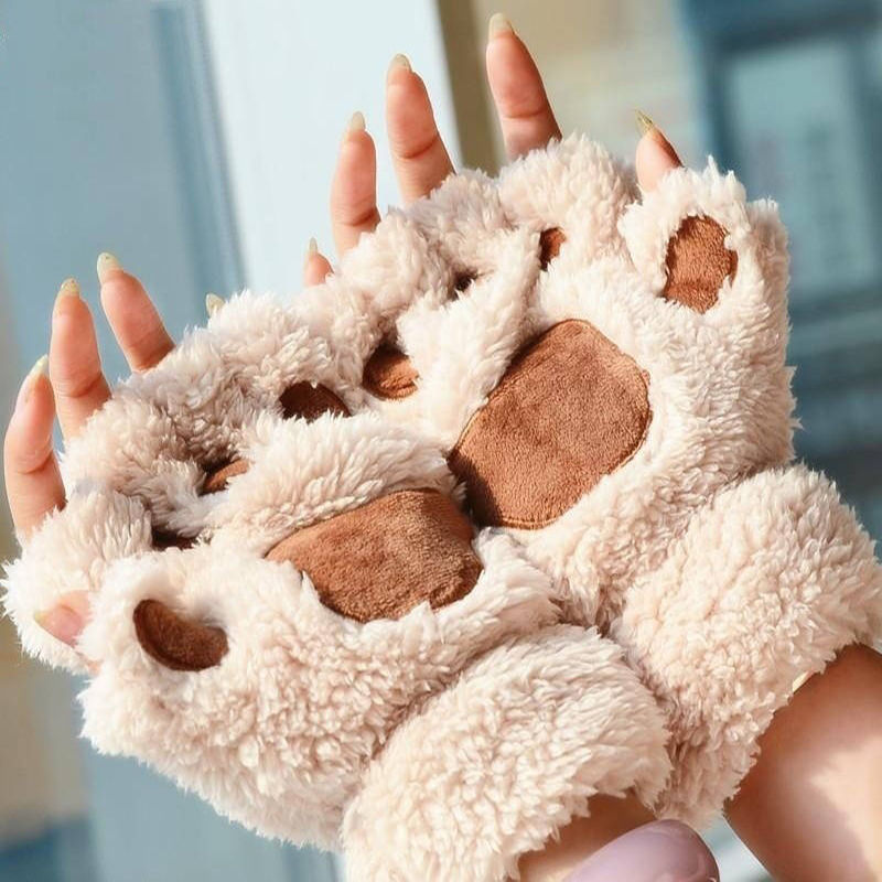 Women Cute Cat Claw Paw Plush Mittens Warm Soft Plush Short Fingerless Fluffy Bear Cat Gloves Costume Half Finger Hot Sale