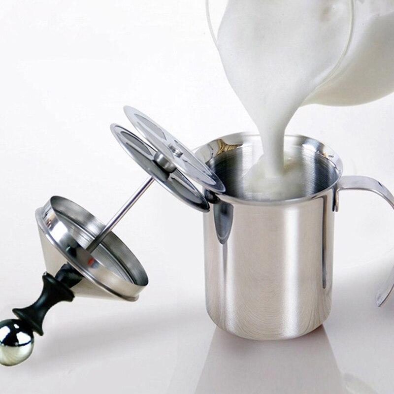 Bomba de espuma de leche de acero inoxidable 800/400ML, mezclador de café, leche, Espumador, capuchino, Latte, doble malla, espuma delicada para herramientas de café